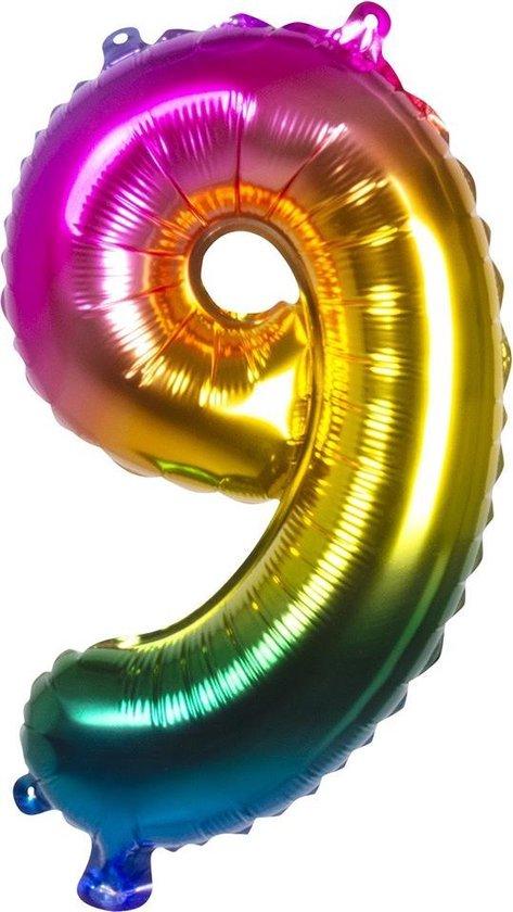 Boland Folieballon Cijfer 9 Latex Regenboog 36 Cm
