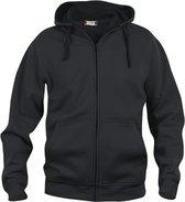 Basic hoody full zip zwart xxl