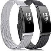 YONO Fitbit Inspire Bandjes - HR - 2 - Milanees - Zilver en Zwart - Small