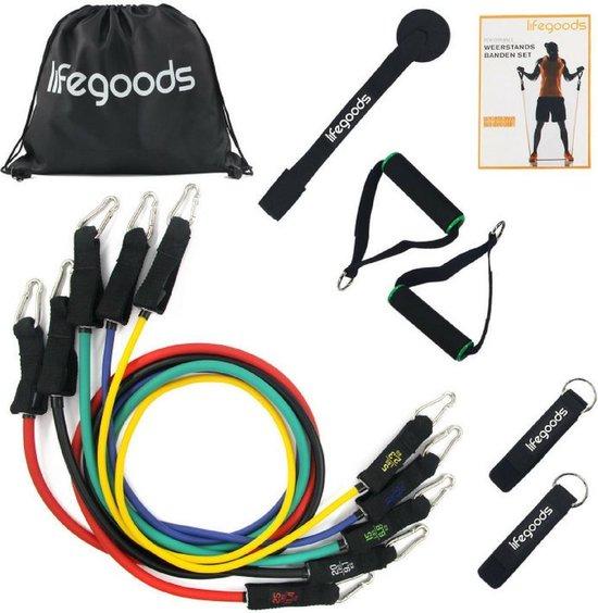 LifeGoods - Fitness Elastiek - Weerstandsbanden Set XL - 11 Stuks