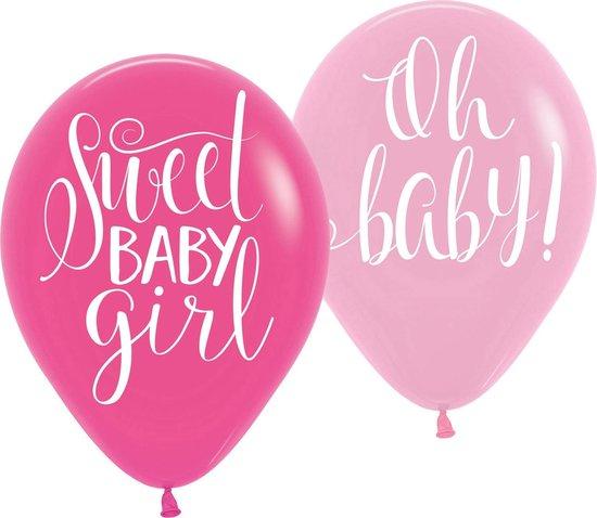 Amscan Ballonnen Babyshower Bloemen 27,5 Cm 6 Stuks Roze