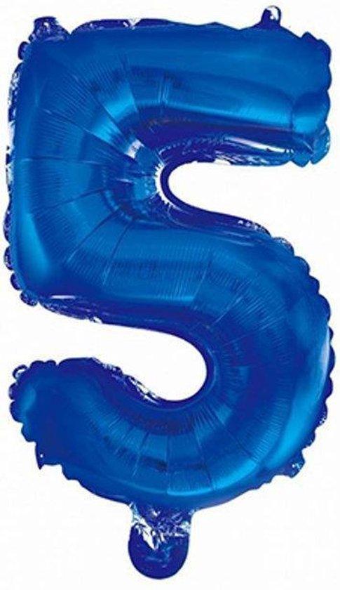 Folie Ballon Cijfer 5 Blauw 41cm met rietje