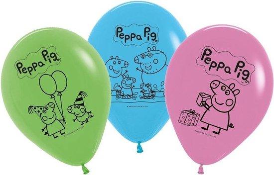 10x Peppa Pig ballonnen versiering voor een Peppa Pig themafeestje - thema feest ballon kinderfeestje/verjaardag blauw/roze/groen