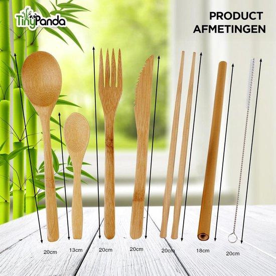 Bamboe Bestekset - 10 delig - incl. Bamboe Tandenborstel