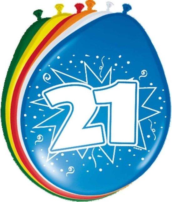 8x stuks Ballonnen versiering 21 jaar