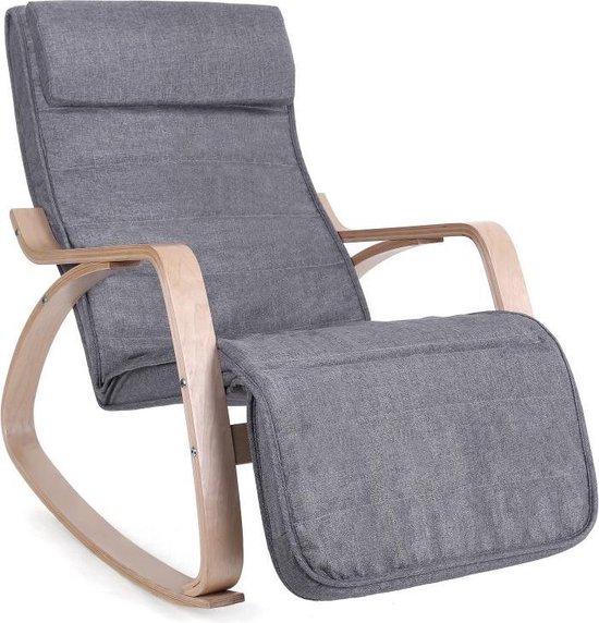 Zweedse Schommelstoel Met Voetensteun - Verstelbare Ligstoel Relaxstoel - Relax Fauteuil Stoel - Linnen Stof - Grijs