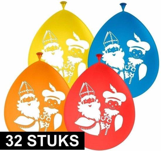 32x Sinterklaas versiering ballonnen - Gekleurde Sint en Piet ballonnen 32 stuks