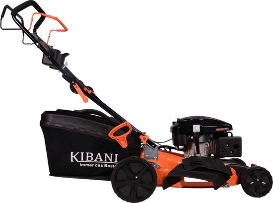 Kibani Benzine Grasmaaier - 196 cc / 4.7 pk 4-takt Motor – Maaibreedte 53 cm – 8 Instelbare Maaihoogtes – Incl. 62L Opvangbak – Mulchfunctie