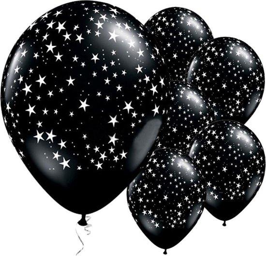 Ballonnen Sterretjes Zwart - 5 stuks