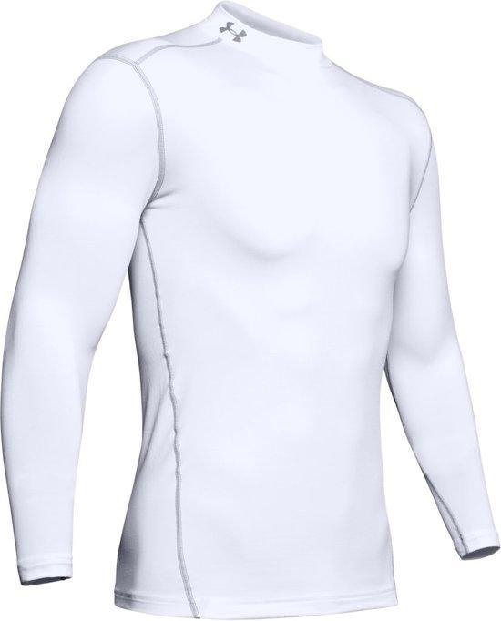Under Armour CG Armour Mock Heren Lange Mouwen Thermo shirt - Wit - Maat L