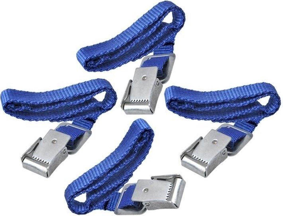 Fiets spanbanden met metalen gesp voor fietsdrager 4 stuks - Bindriemen - Fietsriemen - Sjorbanden -