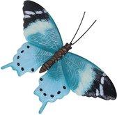 Tuin/schutting decoratie lichtblauw/zwarte vlinder 44 cm - Tuin/schutting/schuur versiering/docoratie - Metalen vlinders