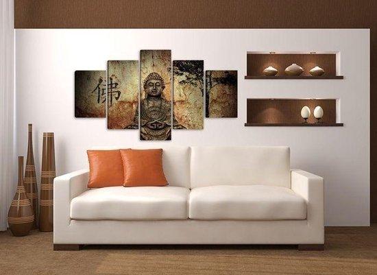Bol Com Canvas Schilderijen Wanddecoratie Woonkamer Slaapkamer Schilderij Boeddha Bruin