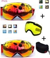 Ski bril met box en EXTRA lens Smoke Red frame Roze F type 10 Cat. 0 tot 4 - ☀/☁