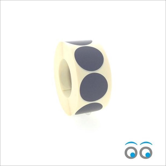 Afbeelding van Etiketten - Stickers -  mat zwart  - O35 mm  - rol van 1000 stuks