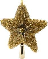 Kerstboom piek glitters goud 23 cm