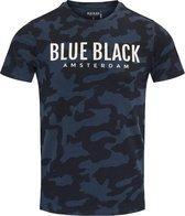 Blue Black Amsterdam Heren T-shirt Tony - Blauwe Camouflage - Maat S