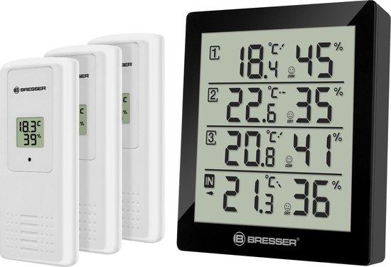 Bresser Temeo Thermo- en Hygrometer Zwart incl. 3 Sensoren voor Binnen en Buiten