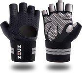 ZEUZ® Sport & Fitness Handschoenen Heren & Dames – Krachttraining – Crossfit – Grijs & Zwart – Maat XL