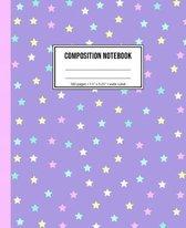 Boek cover Composition Notebook: Wide Ruled Lavender Star Notebook van Cute Print Notebooks