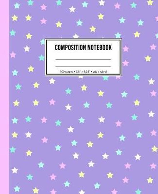 Composition Notebook: Wide Ruled Lavender Star Notebook