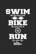 Swim bike run: 6x9 Triathlon - grid - squared paper - notebook - notes