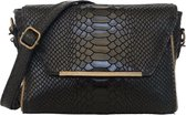 TOUTESTBELLE - Klein mat leren tasje overslag slangenprint - Crossbody schoudertasje - Dames - Leer - Zwart