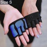Let op type!! Halve vinger yoga handschoenen anti-slip sport Gym Palm Protector  maat: S  Palm omtrek: 17.5 cm (blauw)