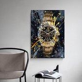 Canvas Experts doek met Gouden ROLEX horloge maat 100x70CM *ALLEEN DOEK MET WITTE RANDEN* Wanddecoratie   Poster   Wall art   canvas doek  
