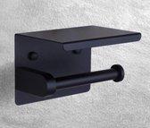 Toiletrolhouder met Telefoonplankje - WC rolhouder zwart - WCrol houder mat Zwart - RVS