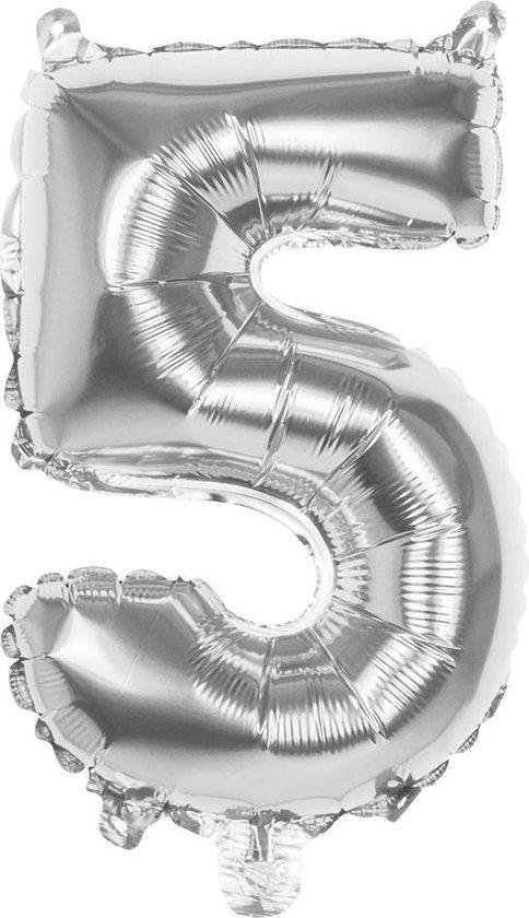 Boland Folieballon Cijfer 5 Zilver 36 Cm