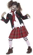 MODAT - Zombie scholieren kostuum voor meisjes - 140/152 (10-12 jaar) - Rood