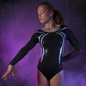 Turnpakjes Pixie maat 152-158 Gaas lange mouwen gympakjes turnkleding turnen gymnastiek blauw zwart stretch glitters pailletten steentjes
