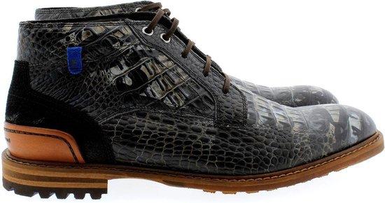 Floris van Bommel 20228 croco veter boots - zwart / combi, ,41 / 7