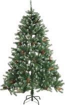 Kerstboom - Kunstkerstboom -  met kunstsneeuw en dennenappels 210cm 1024 tips
