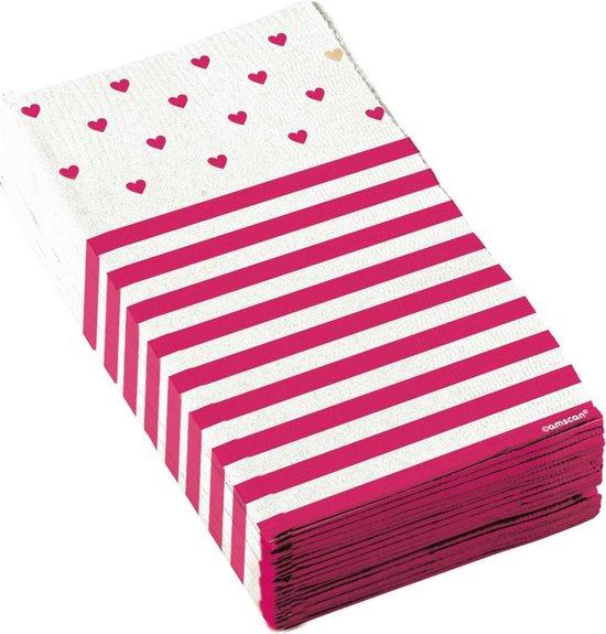 Amscan Servetten Liefde 33 X 33 Cm Papier Roze/wit 16 Stuks
