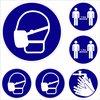 Set Pictogram Stickers Mondmasker Verplicht - Corona Sticker - Afstand houden - 12 Stickers.