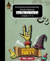 Primary Story and Handwriting Practice Notebook K-2 (Halloween Edition): Writing Practice Paper Dashed Mid-Line With Drawing Doodling Space At The Top