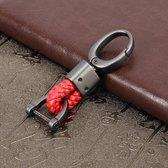 Wevende band metalen auto sleutelhanger Gevlochten riem sleutelhanger (rood)