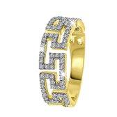 14 Karaat geelgouden ring fantasie met diamant