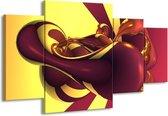 Canvas schilderij Abstract | Paars, Geel | 160x90cm 4Luik
