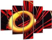 Glasschilderij Abstract   Goud, Rood, Zwart   100x70cm 5Luik   Foto print op Glas    F003244