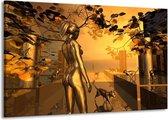 Canvas schilderij Abstract | Goud, Geel, Bruin | 140x90cm 1Luik