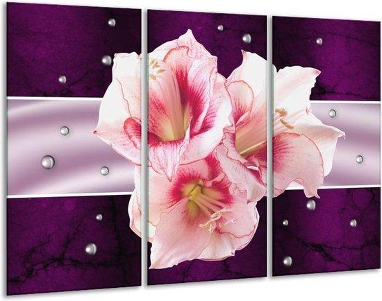 Canvas schilderij Tuin | Paars, Roze, Wit | 120x80cm 3Luik