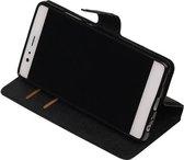 Wicked Narwal | Cross Pattern TPU bookstyle / book case/ wallet case voor Huawei P9 Zwart