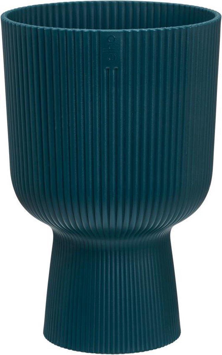 Elho Vibes Fold Coupe 14 - Bloempot voor Binnen - Ø 13,9 x H 21 - Blauw/Diepblauw
