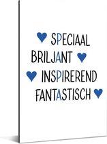 Cadeau met tekst voor vader - Papa blauw Aluminium 40x60 cm