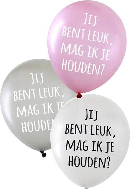 Ballonnen Jij bent leuk, Mag ik je houden? 36 cm 6 stuks