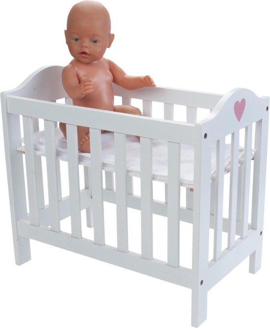 Angel Toys Poppenbedje - Hout - Wit/Roze - Angel Toys
