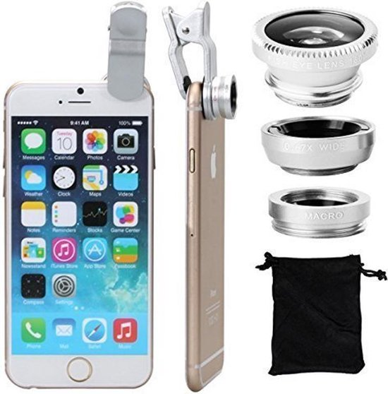 Smartphone Camera Clip Lens Kit / Set - Fish Eye / Macro / Wide Angle Groothoek